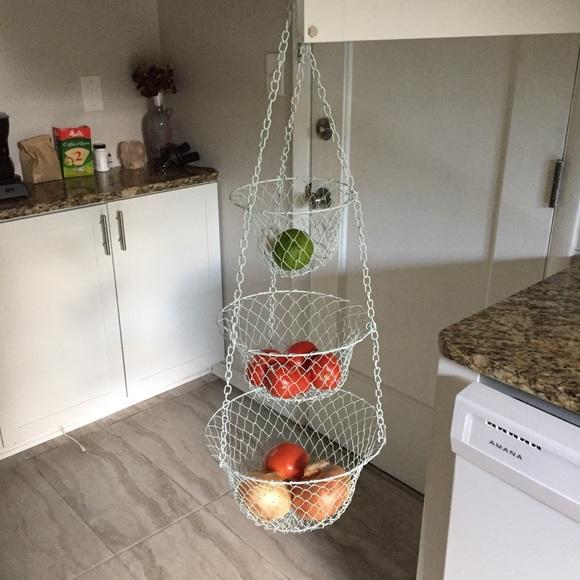 VINTAGE light blue 3-tiered hanging basket kitchen